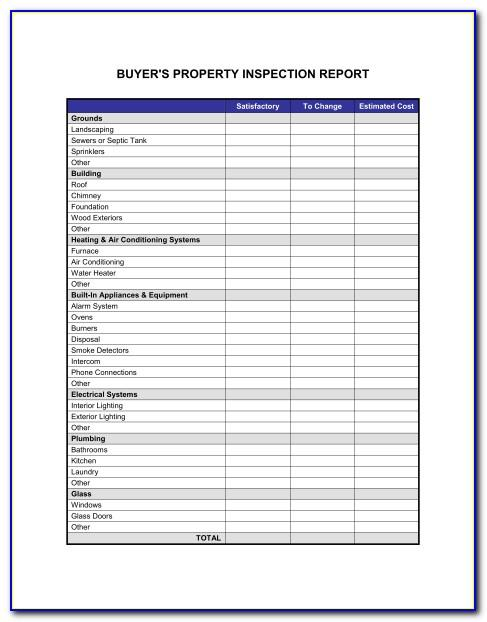 Property Inspection Report Template Free