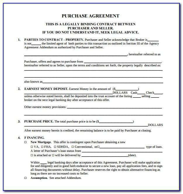 Property Sale Contract Form Wa