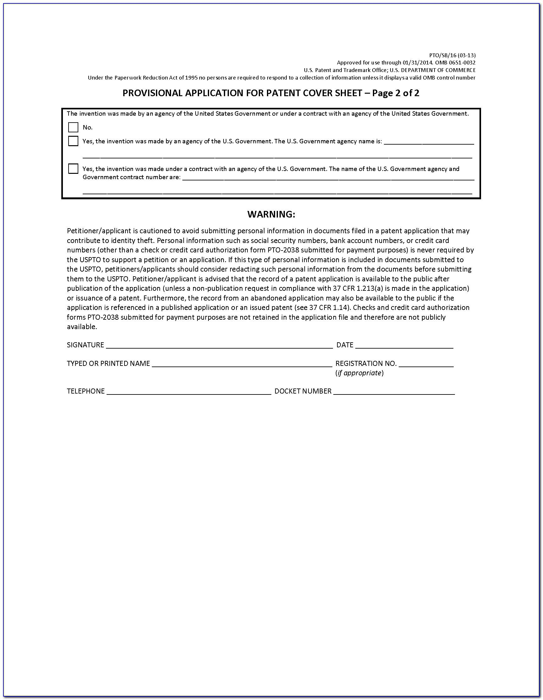 Provisional Patent Application Template Word