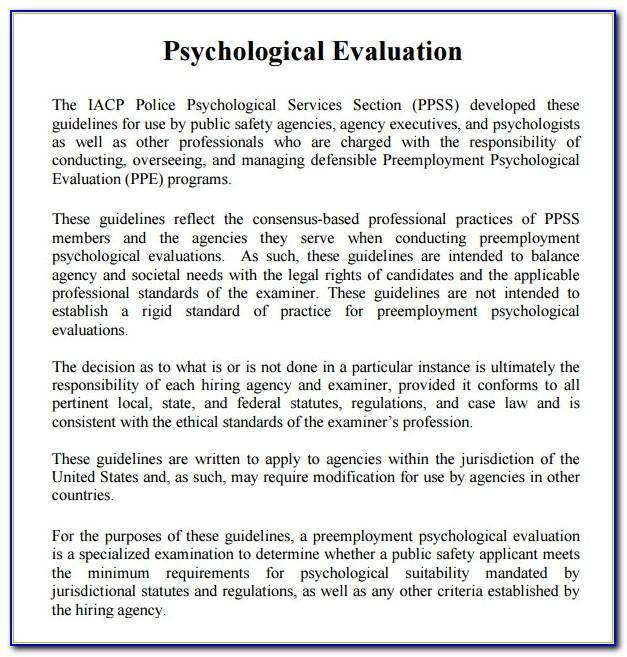 Psychiatric Evaluation Form Sample