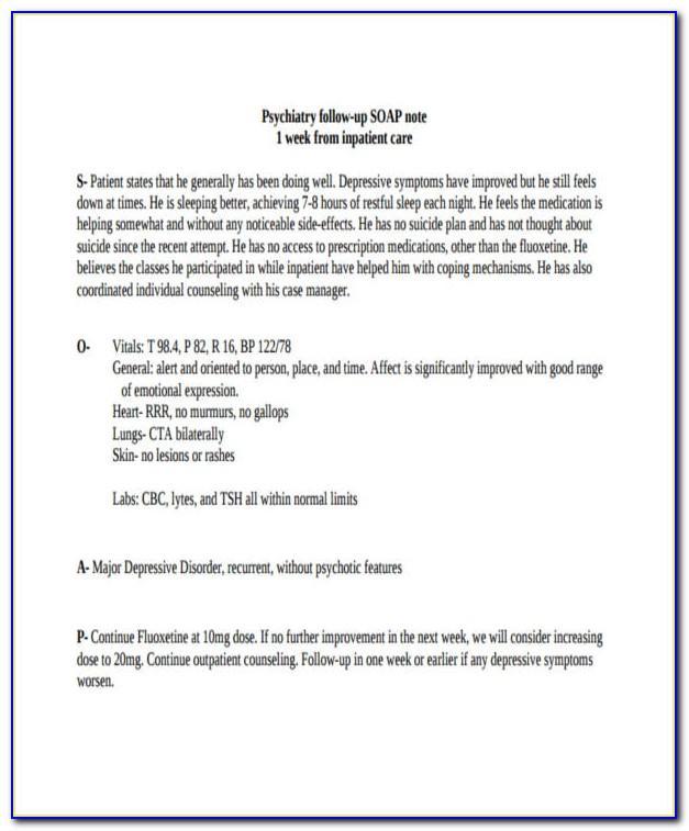 Psychiatric Nursing Progress Note Template