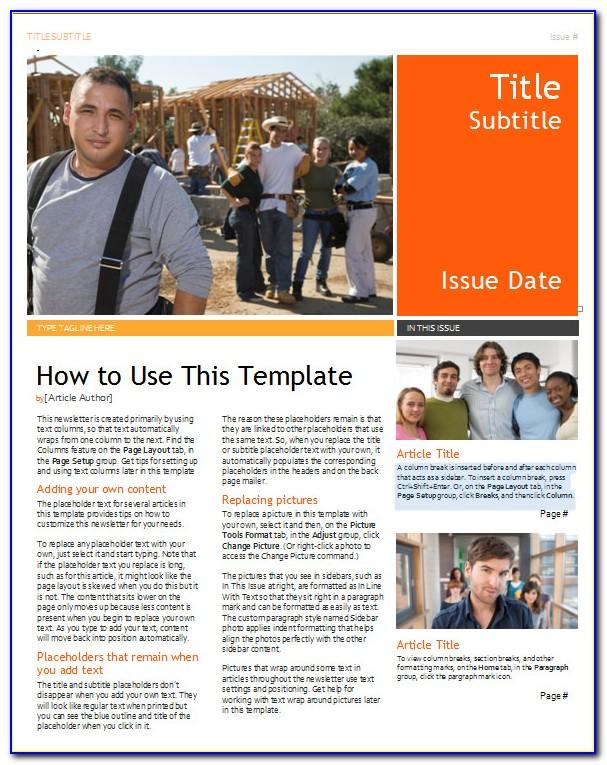 Publisher Newsletter Templates 11 X17