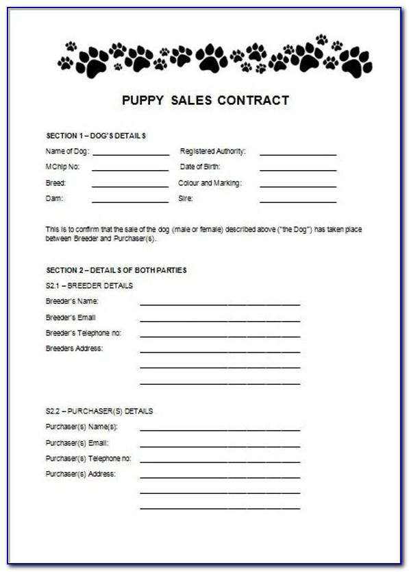 Puppy Buying Contract Template