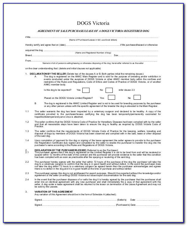 Puppy Sale Agreement Form