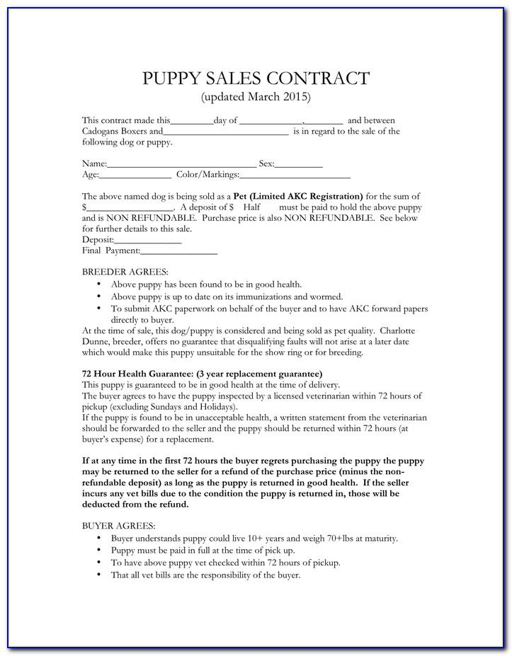 Puppy Sale Contract Form