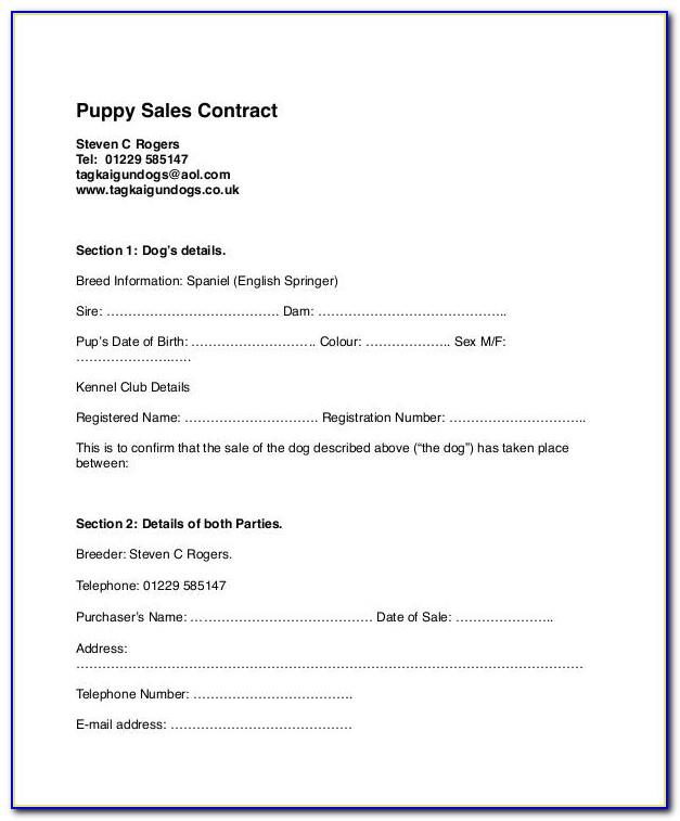 Puppy Sales Contract Example