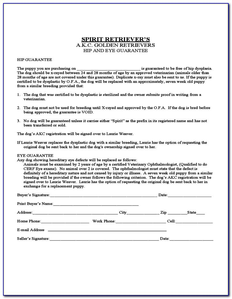 Puppy Sales Contract Form