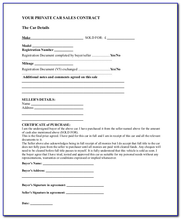 Purchase Agreement Car Sample