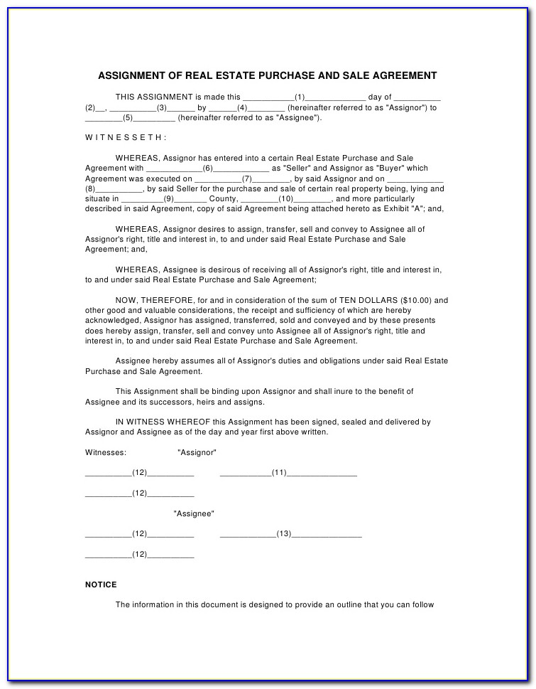 Purchase And Sale Agreement Car Template