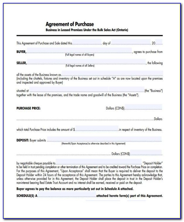 Purchase And Sale Agreement Examples
