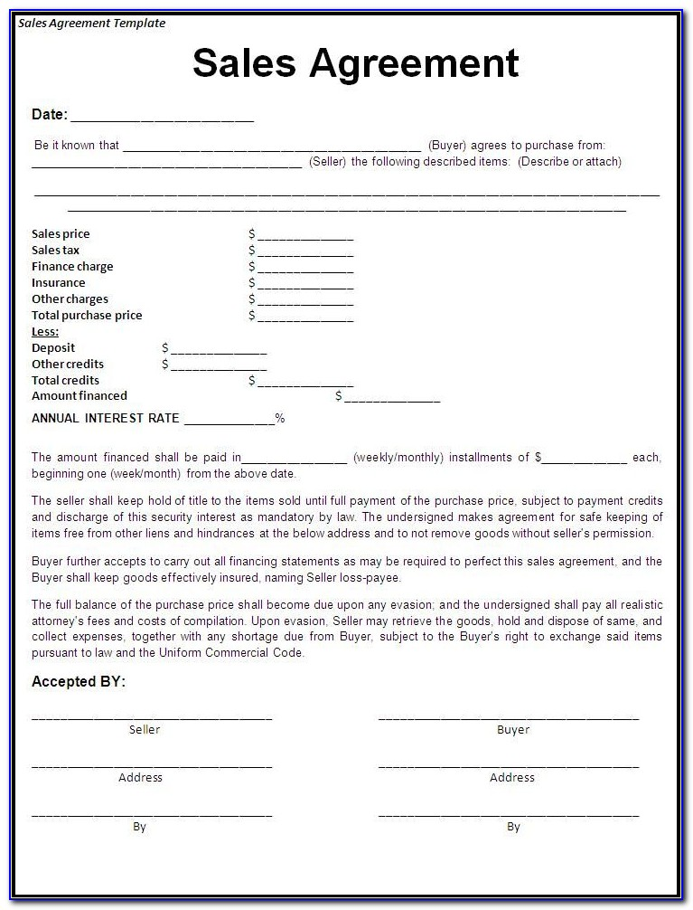 Purchase And Sale Agreement Form For Car