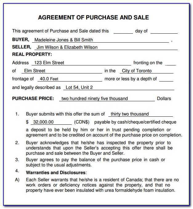 Purchase And Sale Agreement Format