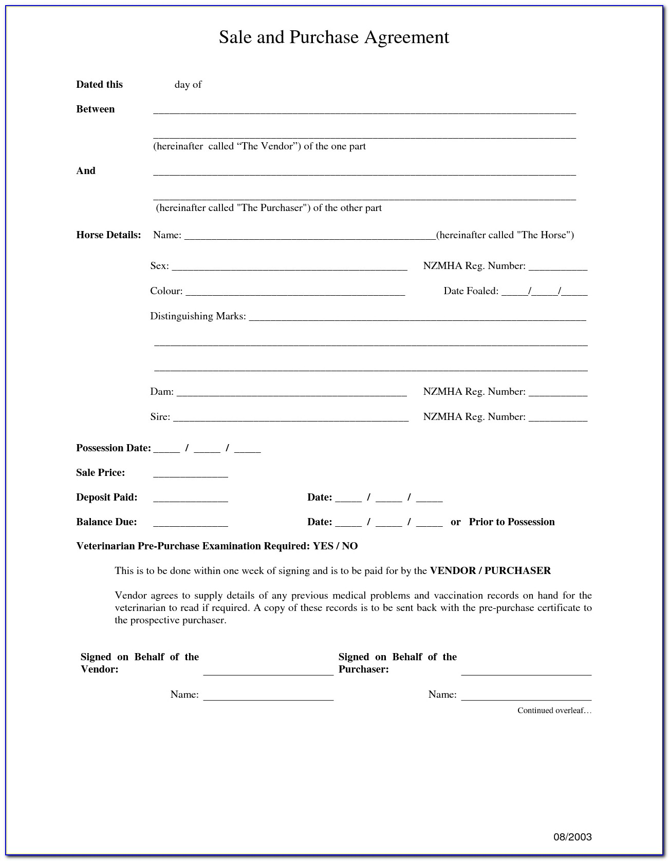 Purchase And Sale Agreement Forms