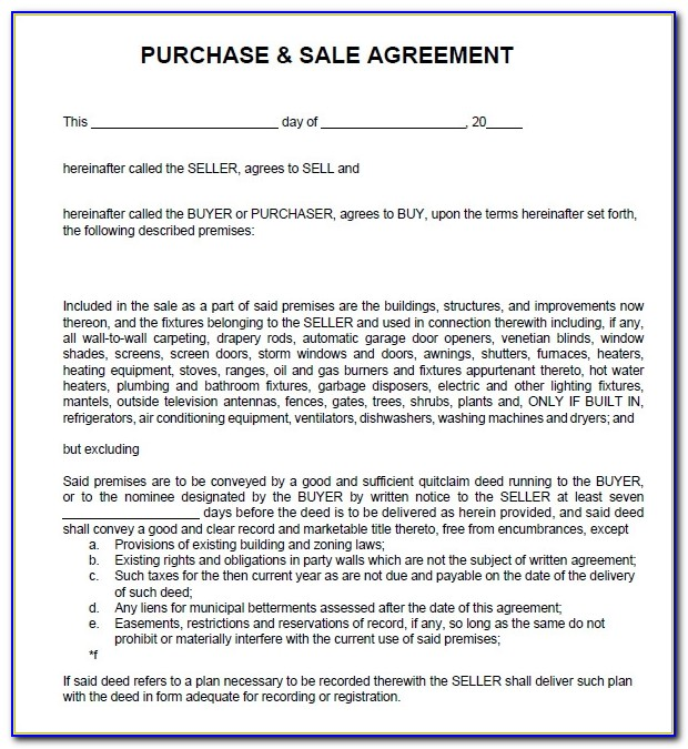 Purchase And Sale Agreement Nh Sample