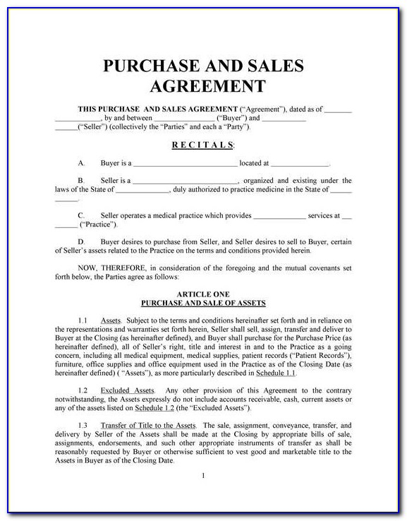 Purchase And Sale Agreement Property Template South Africa