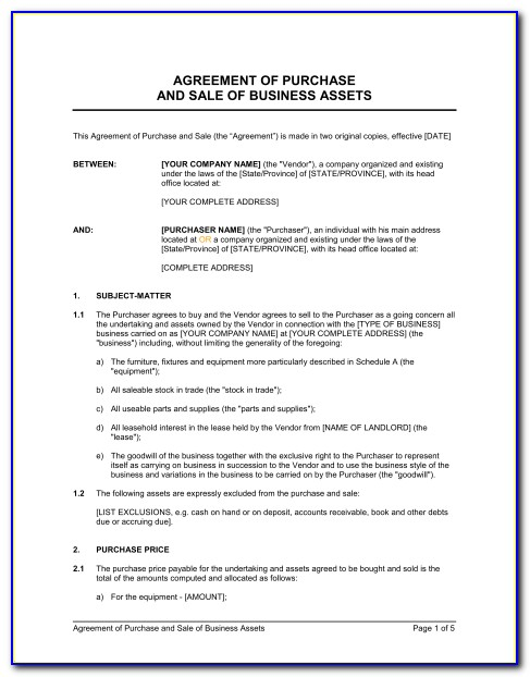 Purchase And Sale Agreement Template Washington State