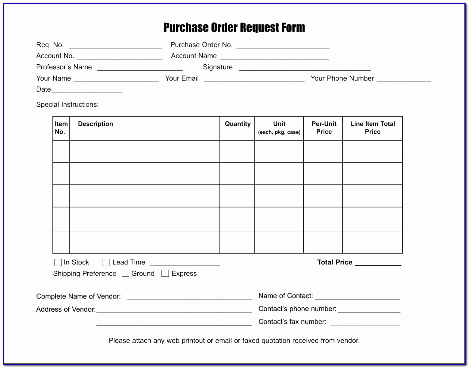 Purchase Order Form Template Word