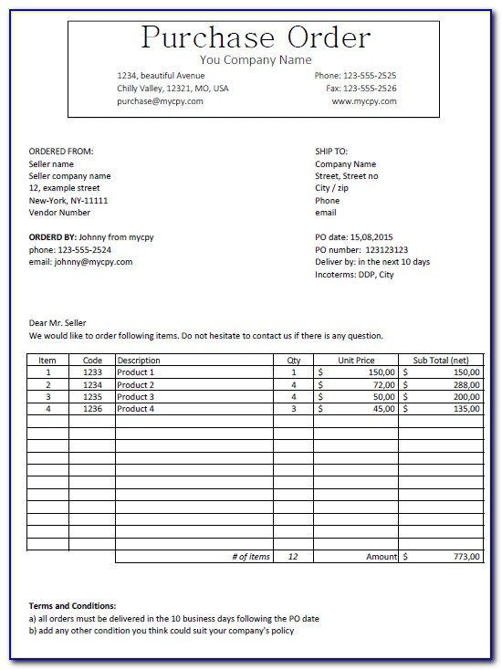 Purchase Order Letter Sample Format In Word