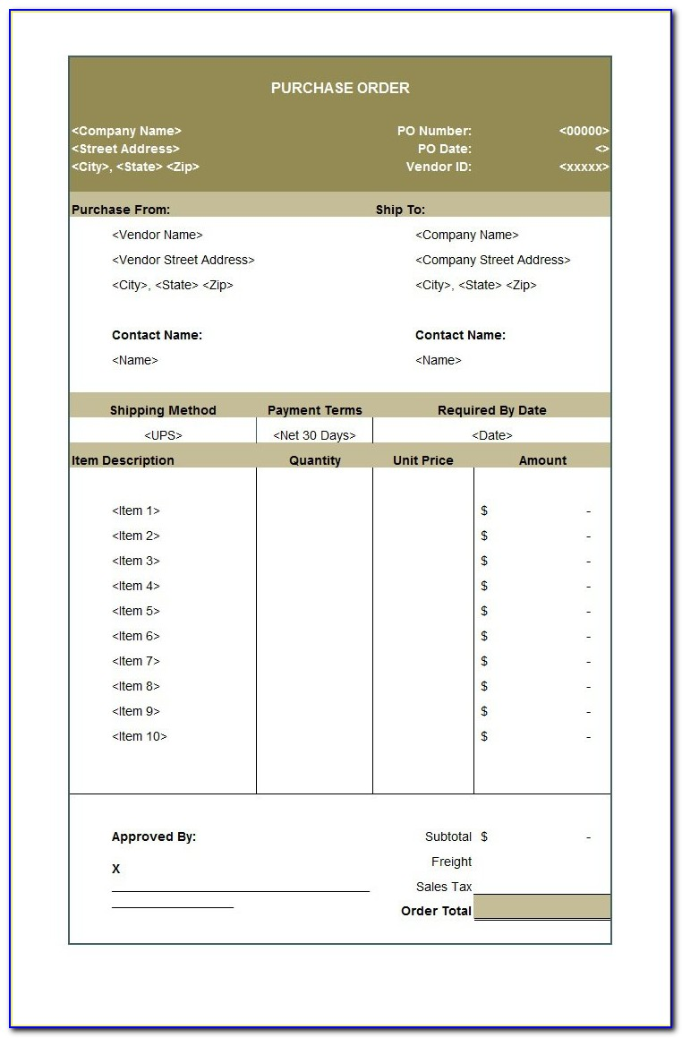 Purchase Order Requisition Template Excel