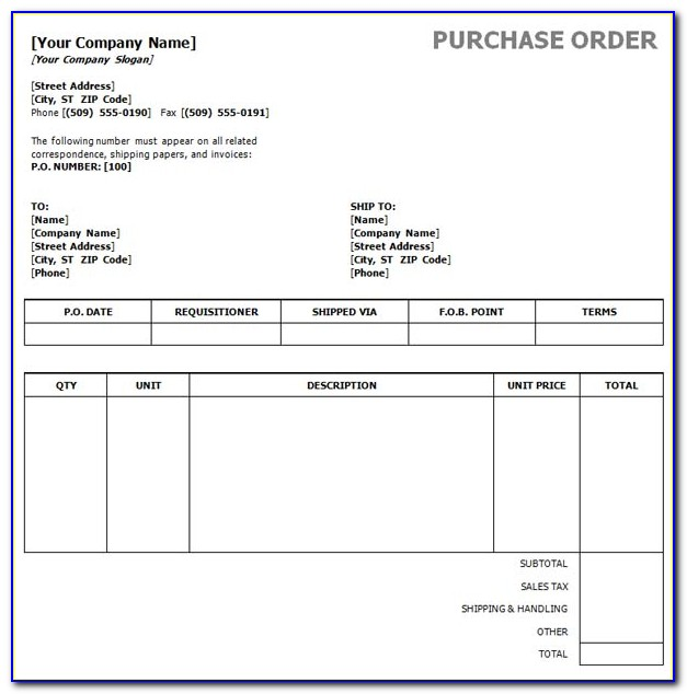 Purchase Order Template Word 2013