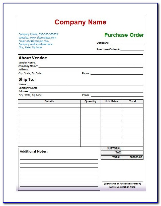 Purchase Order Template Word Download