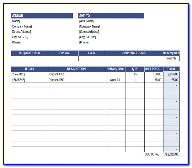 Purchase Order Template Word Free