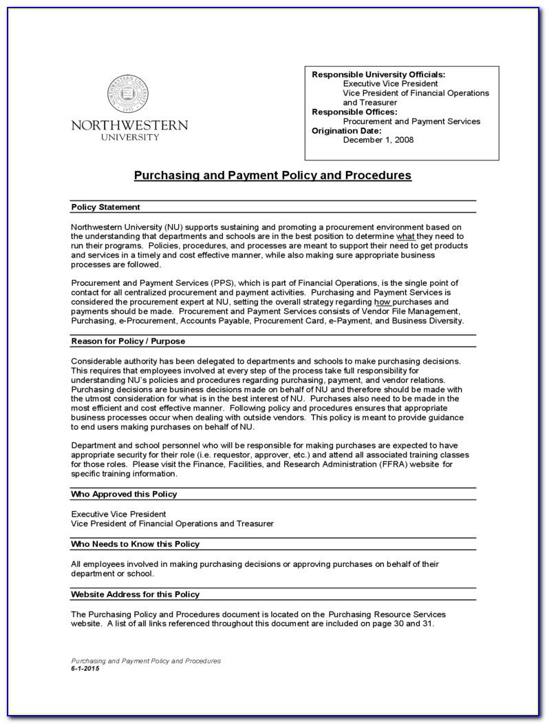 Purchasing Policies And Procedures Template