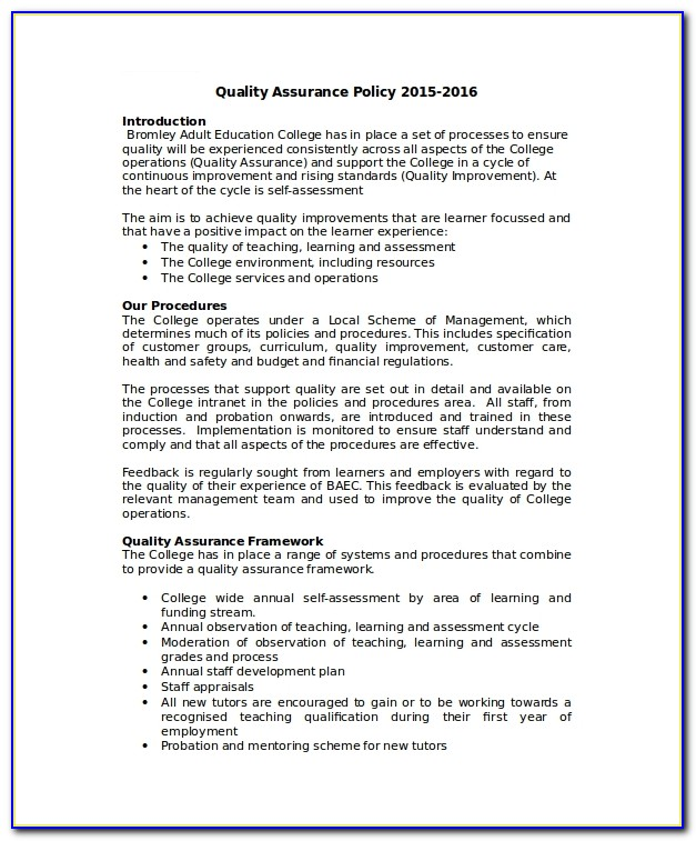 Quality Assurance Policy Statement Sample