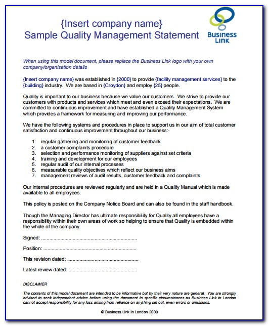 Quality Assurance Policy Statement Template