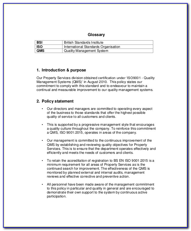 Quality Assurance Policy Templates