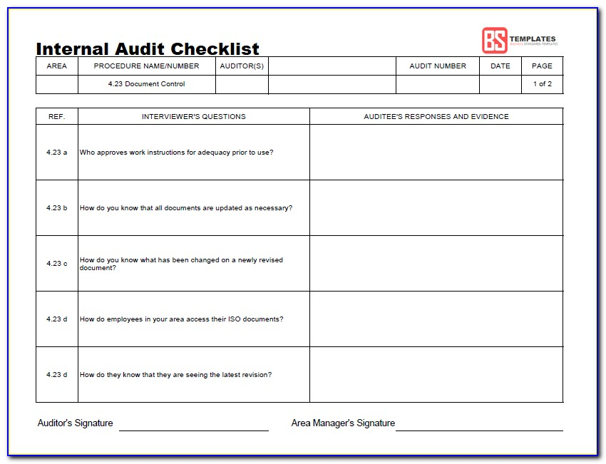 Quality Management System Audit Checklist Template