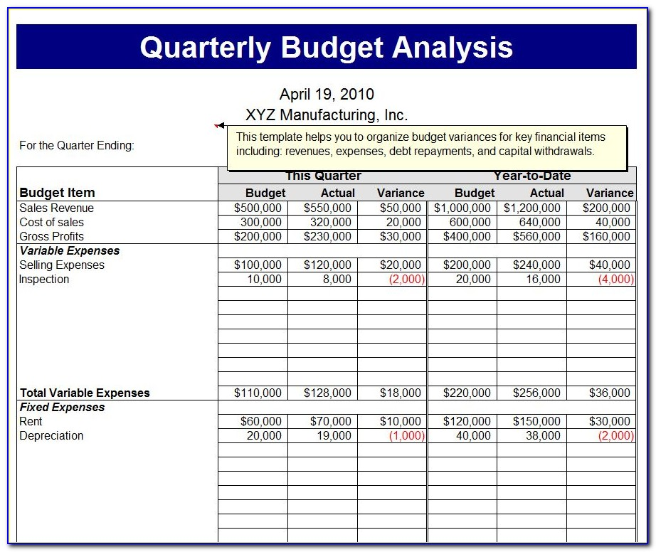 Quarterly Business Plan Template
