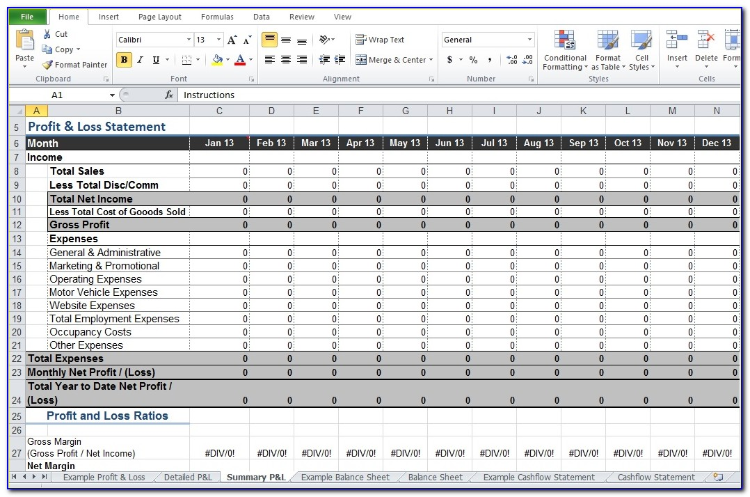 Quarterly Profit And Loss Template Excel
