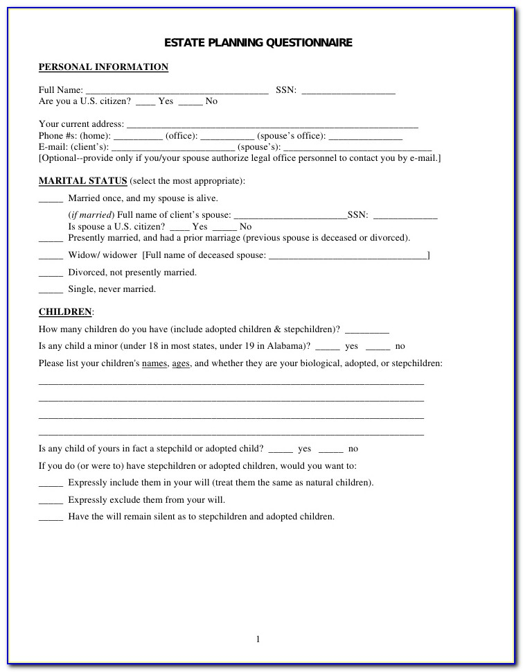 Questionnaire Template For Wills