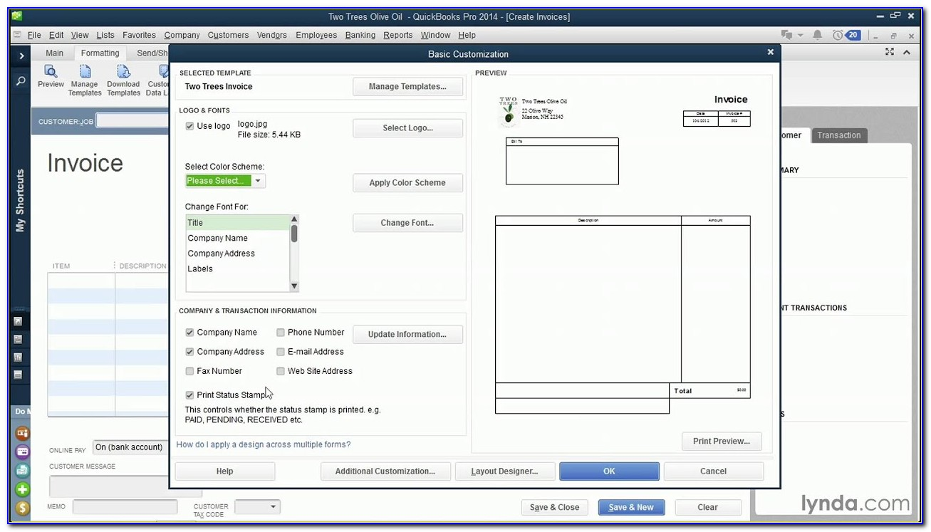 Quickbooks Default Estimate Template