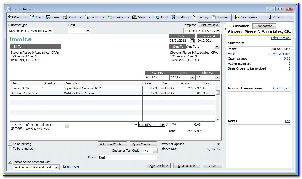 Quickbooks Export Form Templates