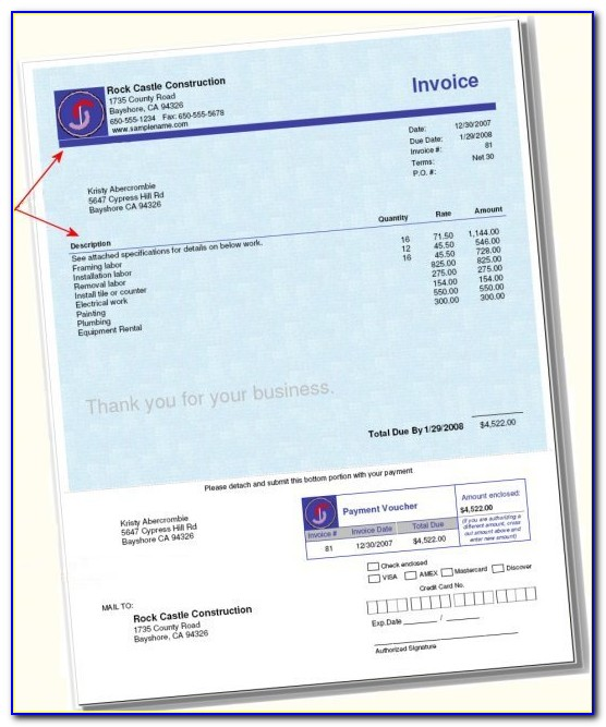 Quickbooks Invoice Template With Remittance Slip