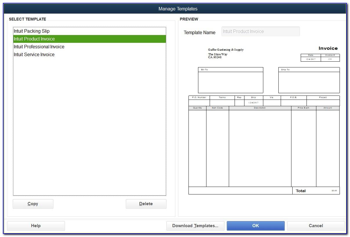 Quickbooks Online Change Default Invoice Template