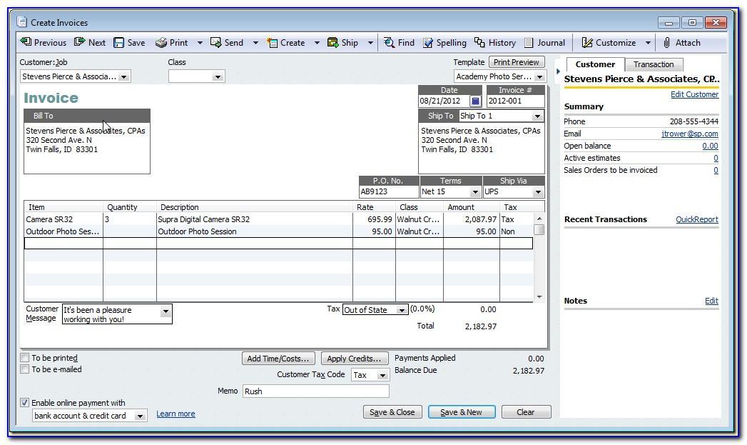 Quickbooks Online Format Invoice