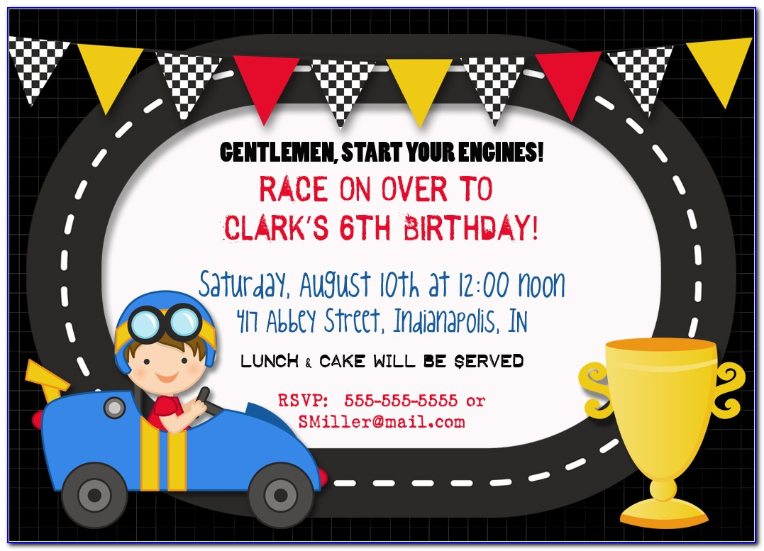 Race Car Birthday Invitation Template
