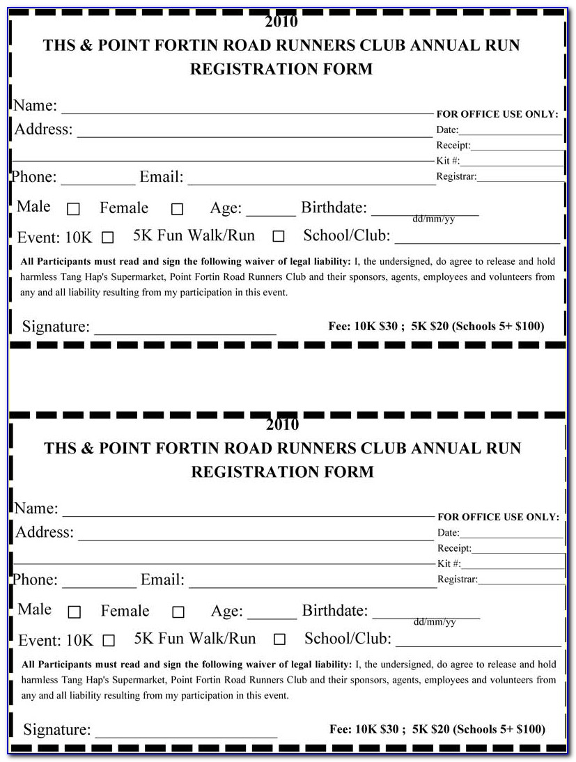 Race Registration Form Template Free