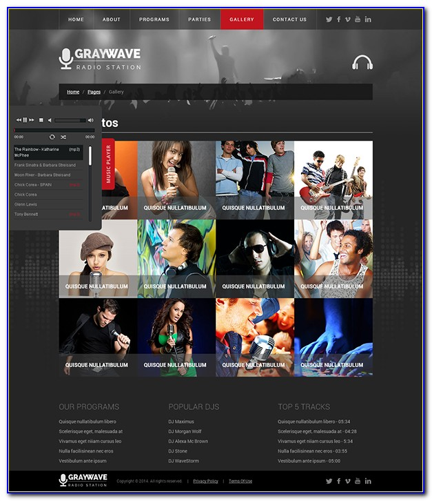 Radio Station Web Page Templates