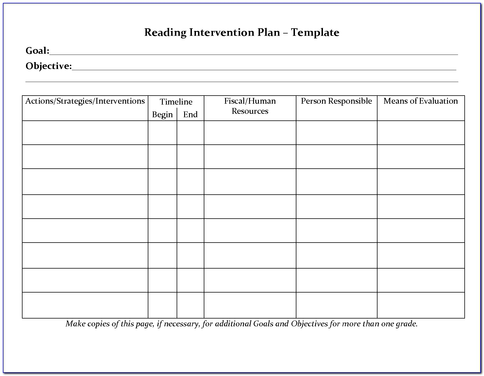 Reading Intervention Lesson Plan Template