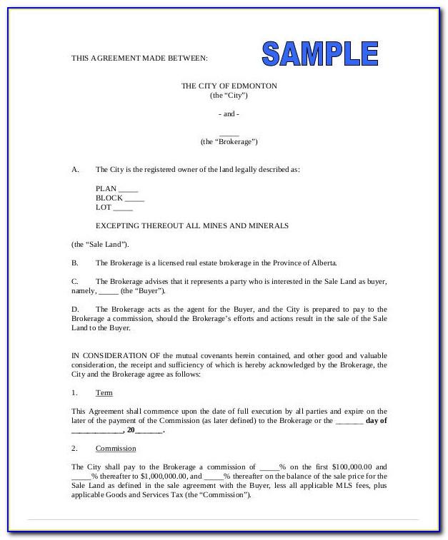 Real Estate Broker Commission Agreement Form