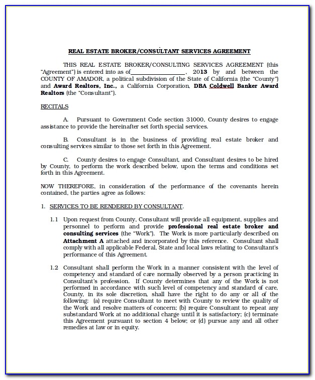 Real Estate Brokerage Agreement Form