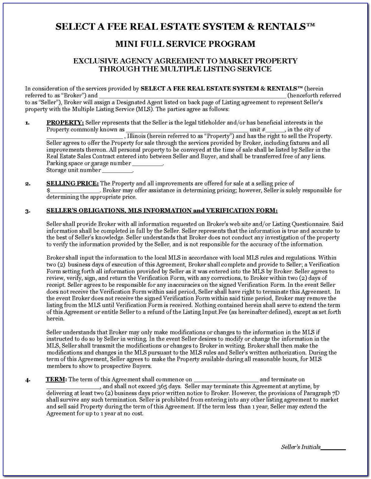Real Estate Brokerage Agreement Sample