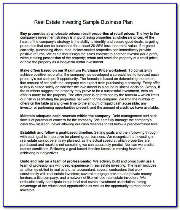 Real Estate Business Plan Template Investors