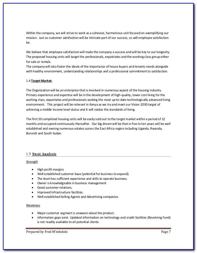 Real Estate Business Plan Template South Africa