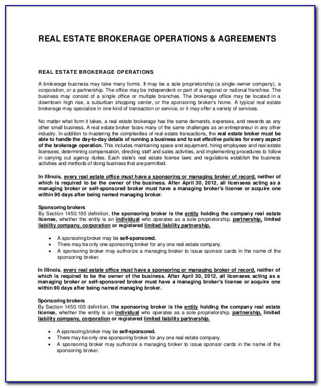 Real Estate Co Brokerage Agreement Form