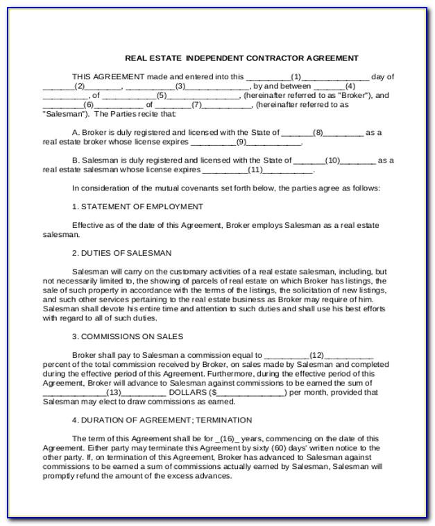 Real Estate Commission Split Agreement Form